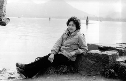 Marianne Pondering all of it at West Lake, Hangzhou, 1982